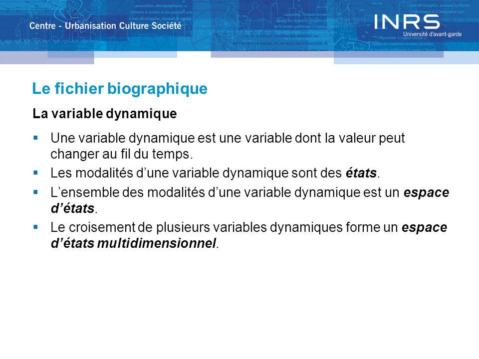 Le fichier biographique La variable dynamique Une variable dynamique est une variable dont la valeur peut changer au fil du temps. Les modalités dune