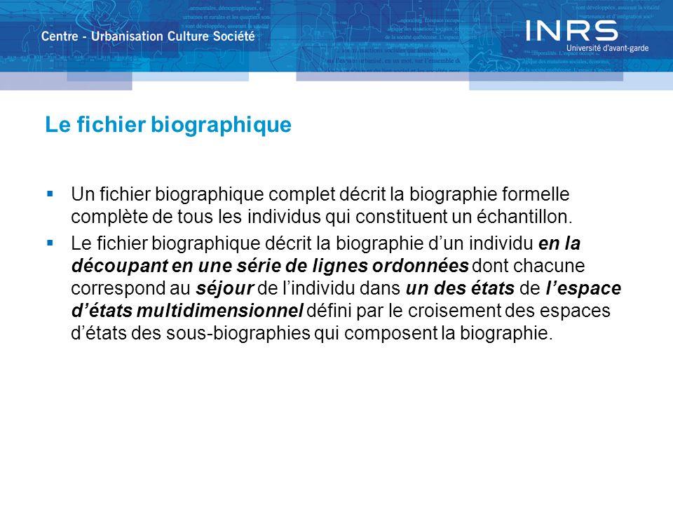 Le fichier biographique Un fichier biographique complet décrit la biographie formelle complète de tous les individus qui constituent un échantillon. L