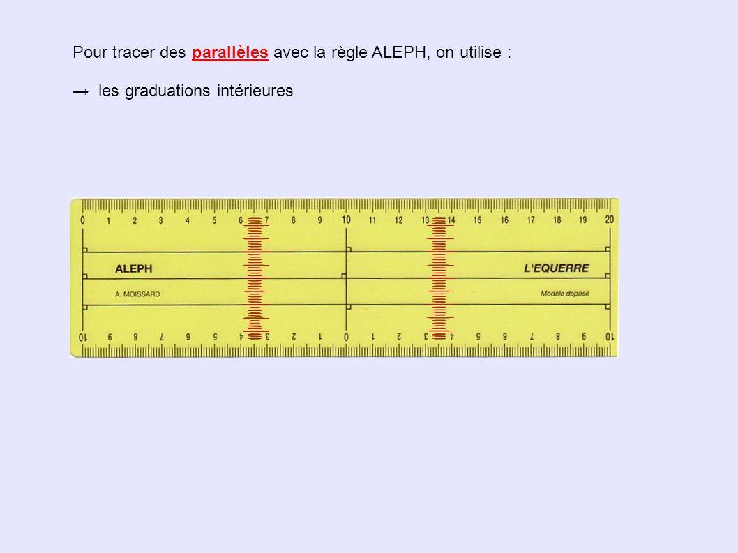 Pour tracer des parallèles avec la règle ALEPH, on utilise : les graduations intérieures le bord gradué