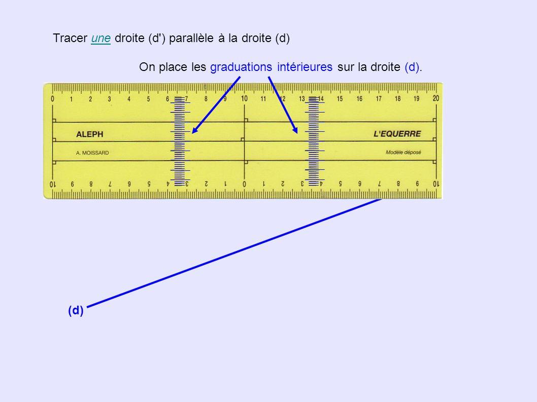 Tracer LA droite (d ) parallèle la droite (d) passant par le point A (d) A x On place les graduations intérieures sur la droite (d).