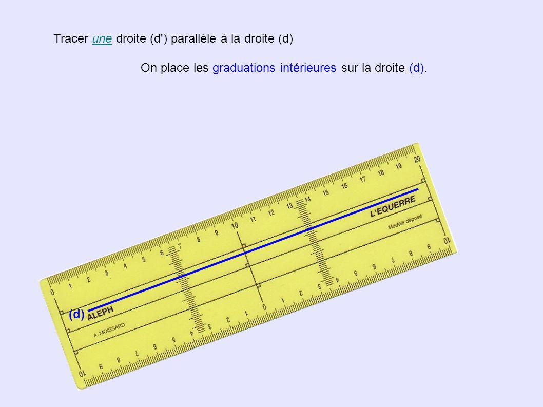 Tracer une droite (d ) parallèle à la droite (d) (d) On place les graduations intérieures sur la droite (d) Même graduation de part et d autre ( ici 2,3 cm ) L écartement des droites (d) et (d ) est constant.