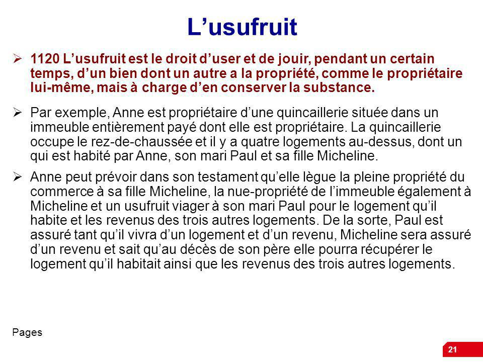 21 Lusufruit 1120 Lusufruit est le droit duser et de jouir, pendant un certain temps, dun bien dont un autre a la propriété, comme le propriétaire lui