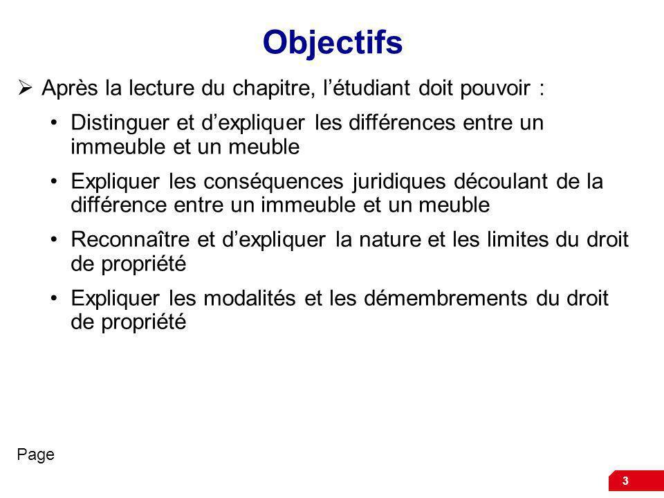 3 Objectifs Après la lecture du chapitre, létudiant doit pouvoir : Distinguer et dexpliquer les différences entre un immeuble et un meuble Expliquer l