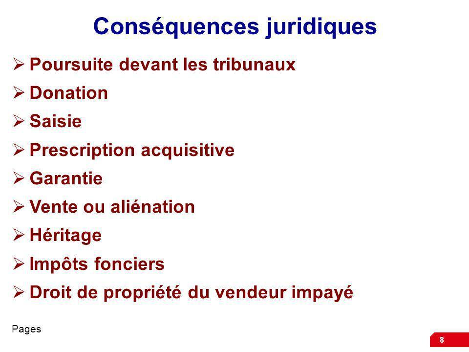 8 Conséquences juridiques Poursuite devant les tribunaux Donation Saisie Prescription acquisitive Garantie Vente ou aliénation Héritage Impôts foncier