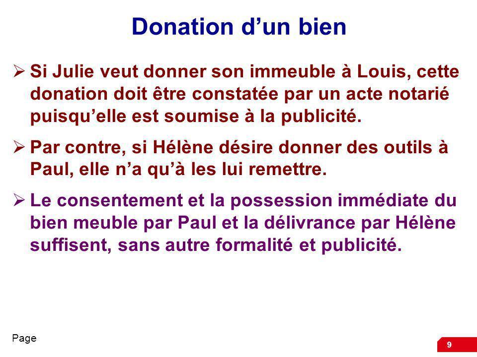 9 Donation dun bien Si Julie veut donner son immeuble à Louis, cette donation doit être constatée par un acte notarié puisquelle est soumise à la publ