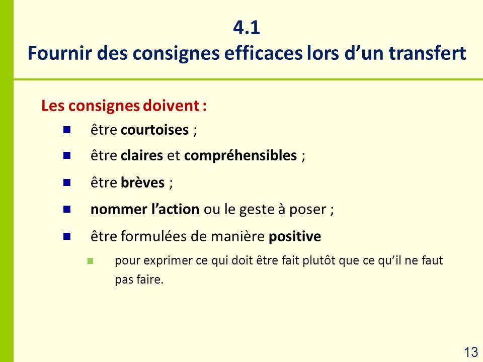 4.1 Fournir des consignes efficaces lors dun transfert Les consignes doivent : être courtoises ; être claires et compréhensibles ; être brèves ; nomme