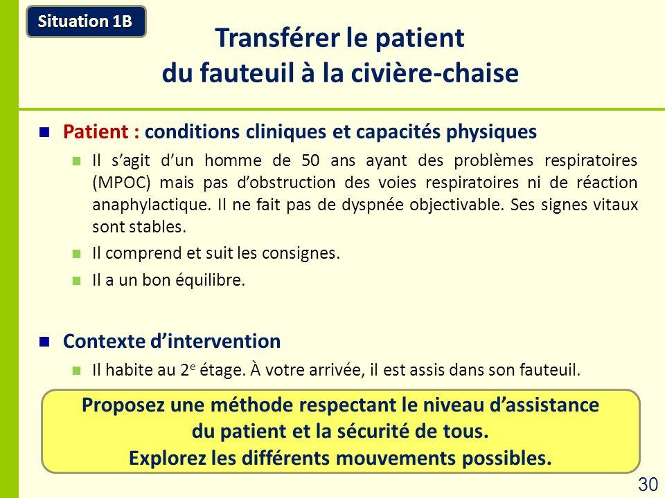 Proposez une méthode respectant le niveau dassistance du patient et la sécurité de tous. Explorez les différents mouvements possibles. Situation 1B Tr