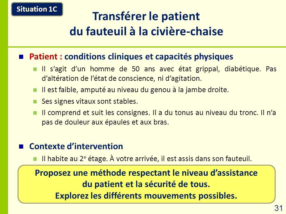 Proposez une méthode respectant le niveau dassistance du patient et la sécurité de tous. Explorez les différents mouvements possibles. Situation 1C Tr