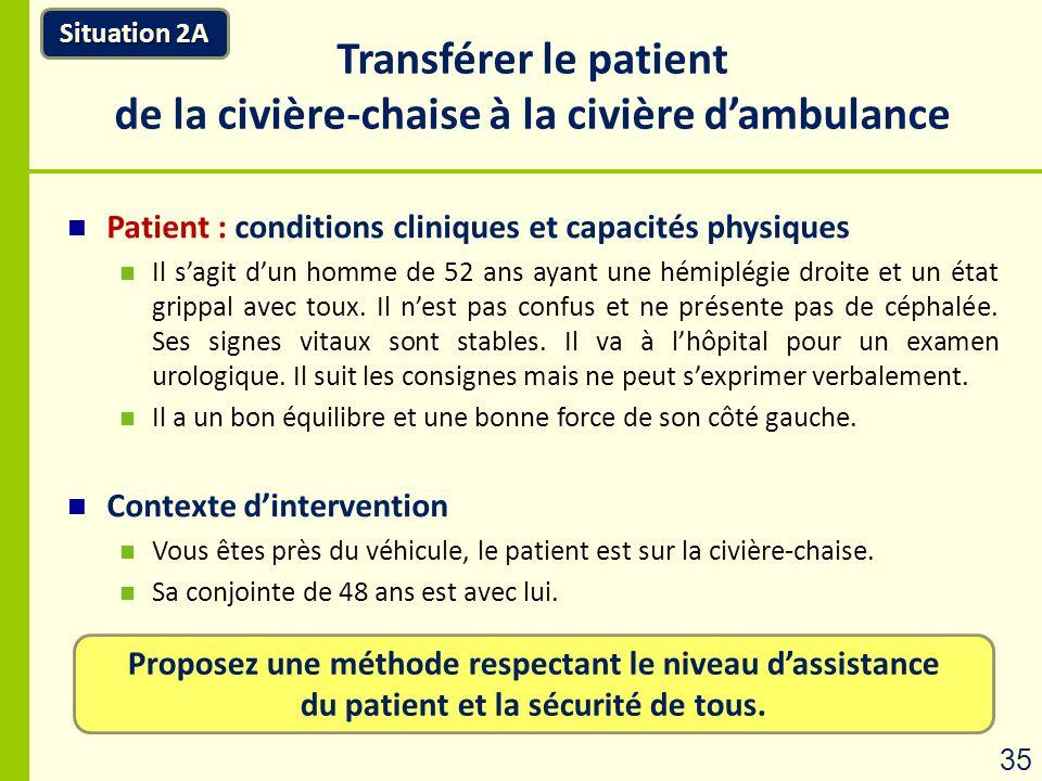 Proposez une méthode respectant le niveau dassistance du patient et la sécurité de tous. Transférer le patient de la civière-chaise à la civière dambu