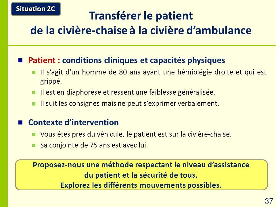 Proposez-nous une méthode respectant le niveau dassistance du patient et la sécurité de tous. Explorez les différents mouvements possibles. Situation