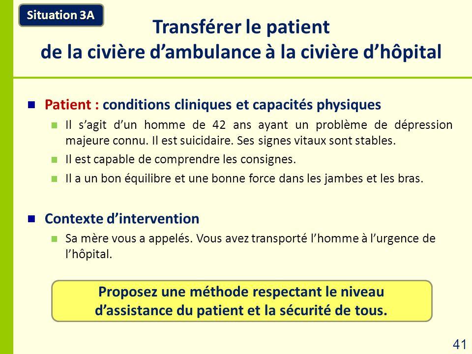 Proposez une méthode respectant le niveau dassistance du patient et la sécurité de tous. Transférer le patient de la civière dambulance à la civière d