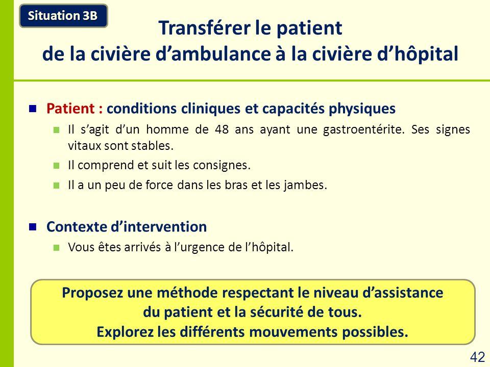 Proposez une méthode respectant le niveau dassistance du patient et la sécurité de tous. Explorez les différents mouvements possibles. Transférer le p