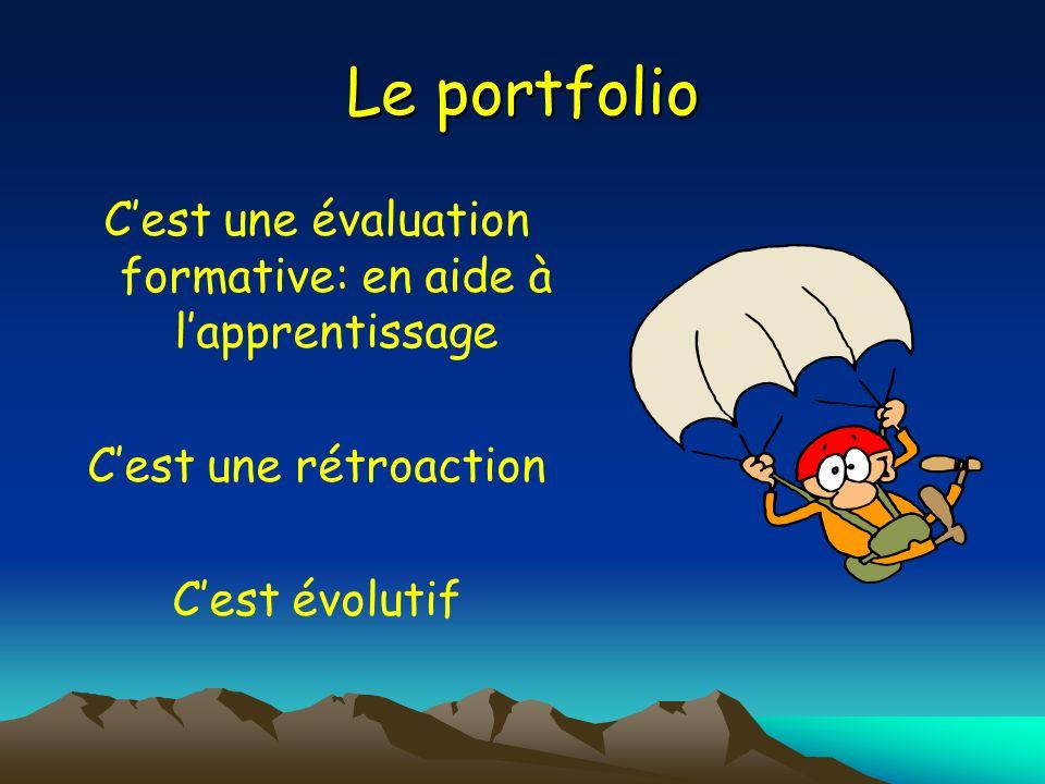 Le portfolio Cest une évaluation formative: en aide à lapprentissage Cest une rétroaction Cest évolutif