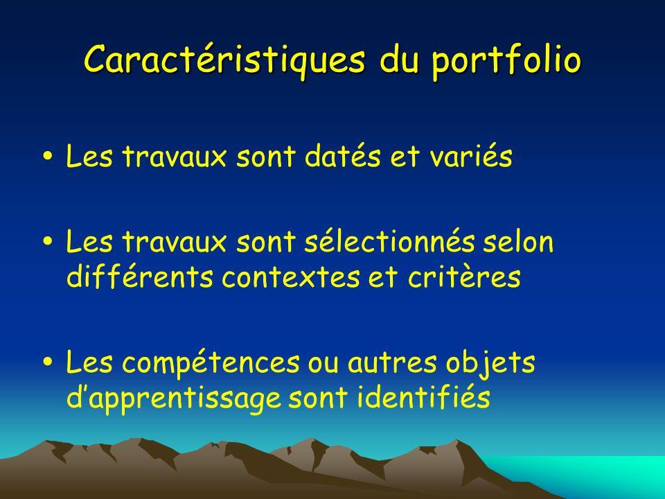 Caractéristiques du portfolio Les travaux sont datés et variés Les travaux sont sélectionnés selon différents contextes et critères Les compétences ou