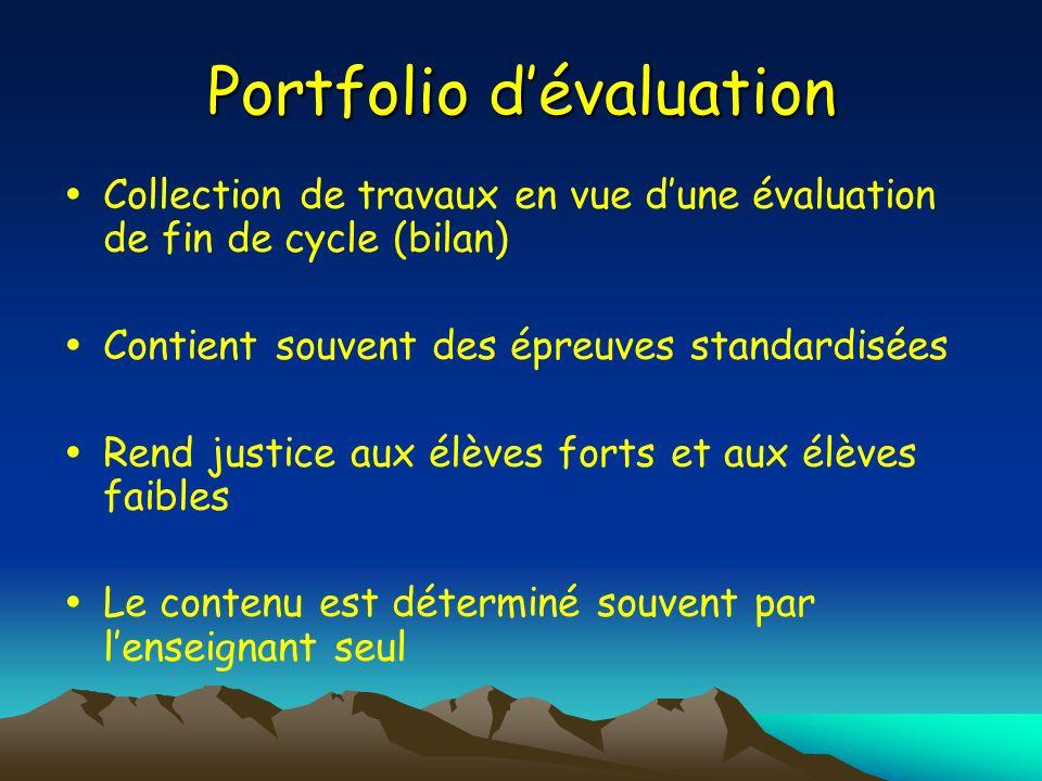 Portfolio dévaluation Collection de travaux en vue dune évaluation de fin de cycle (bilan) Contient souvent des épreuves standardisées Rend justice au