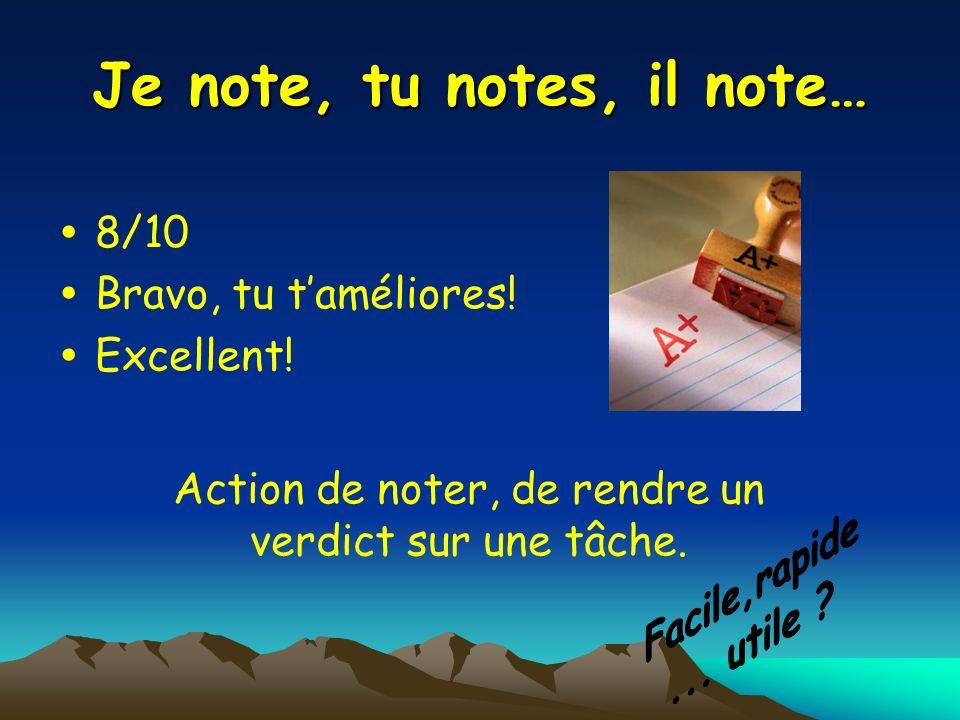 Je note, tu notes, il note… 8/10 Bravo, tu taméliores! Excellent! Action de noter, de rendre un verdict sur une tâche.