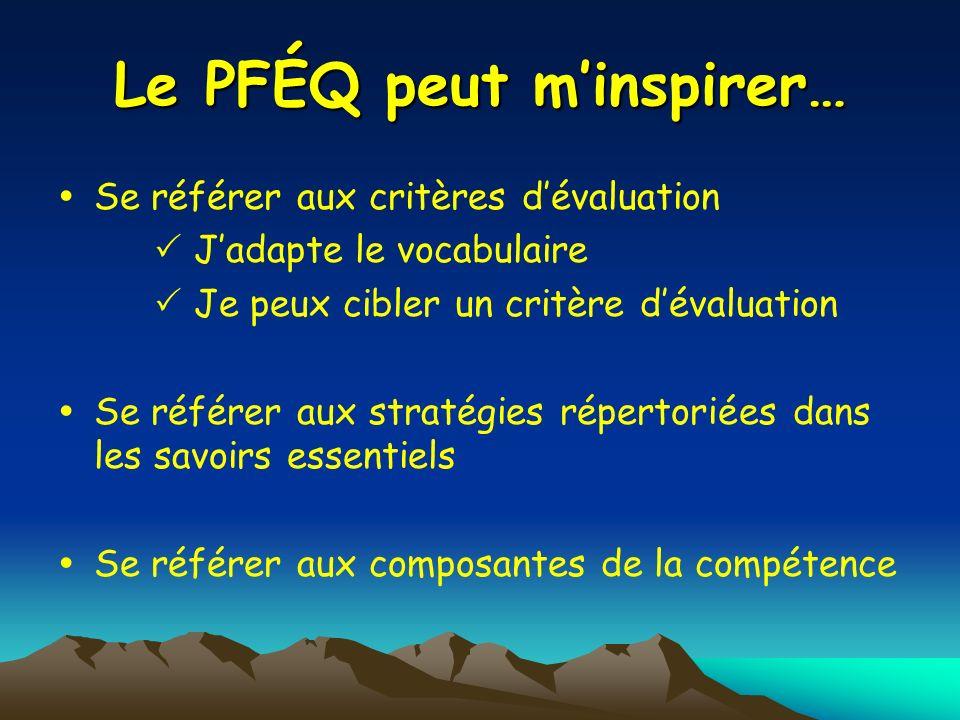 Le PFÉQ peut minspirer… Se référer aux critères dévaluation Jadapte le vocabulaire Je peux cibler un critère dévaluation Se référer aux stratégies rép