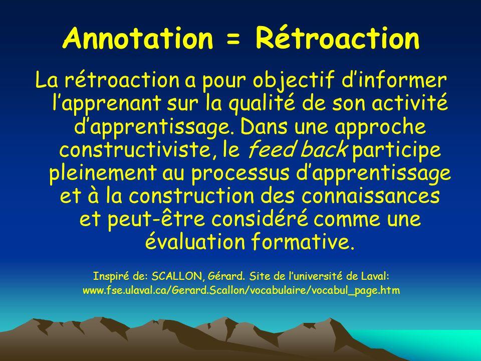 Annotation = Rétroaction La rétroaction a pour objectif dinformer lapprenant sur la qualité de son activité dapprentissage. Dans une approche construc