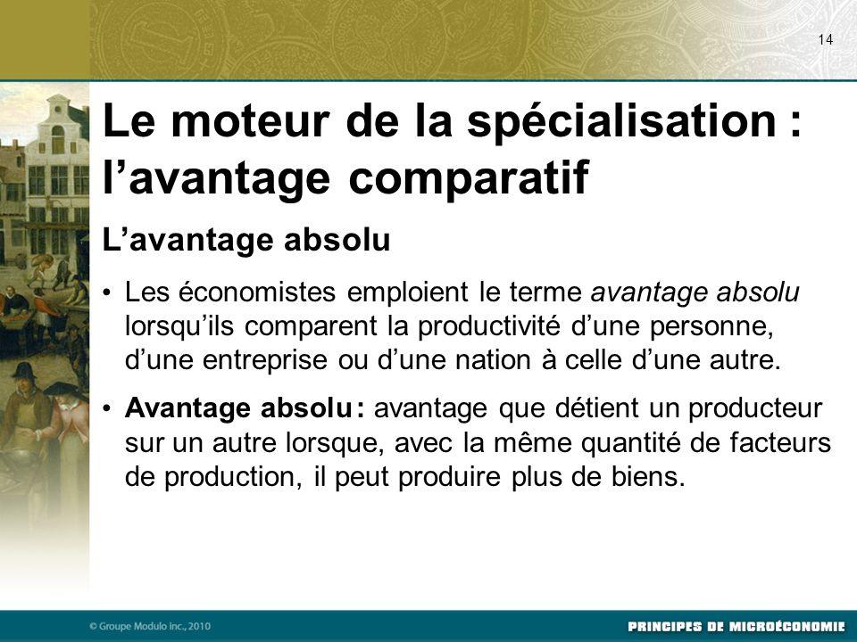 Lavantage absolu Les économistes emploient le terme avantage absolu lorsquils comparent la productivité dune personne, dune entreprise ou dune nation