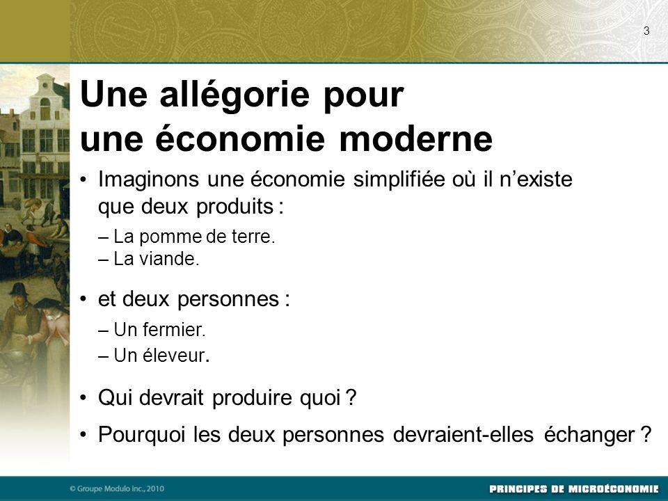 Une allégorie pour une économie moderne Imaginons une économie simplifiée où il nexiste que deux produits : – La pomme de terre.