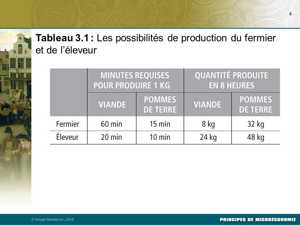 Tableau 3.1 : Les possibilités de production du fermier et de léleveur 4