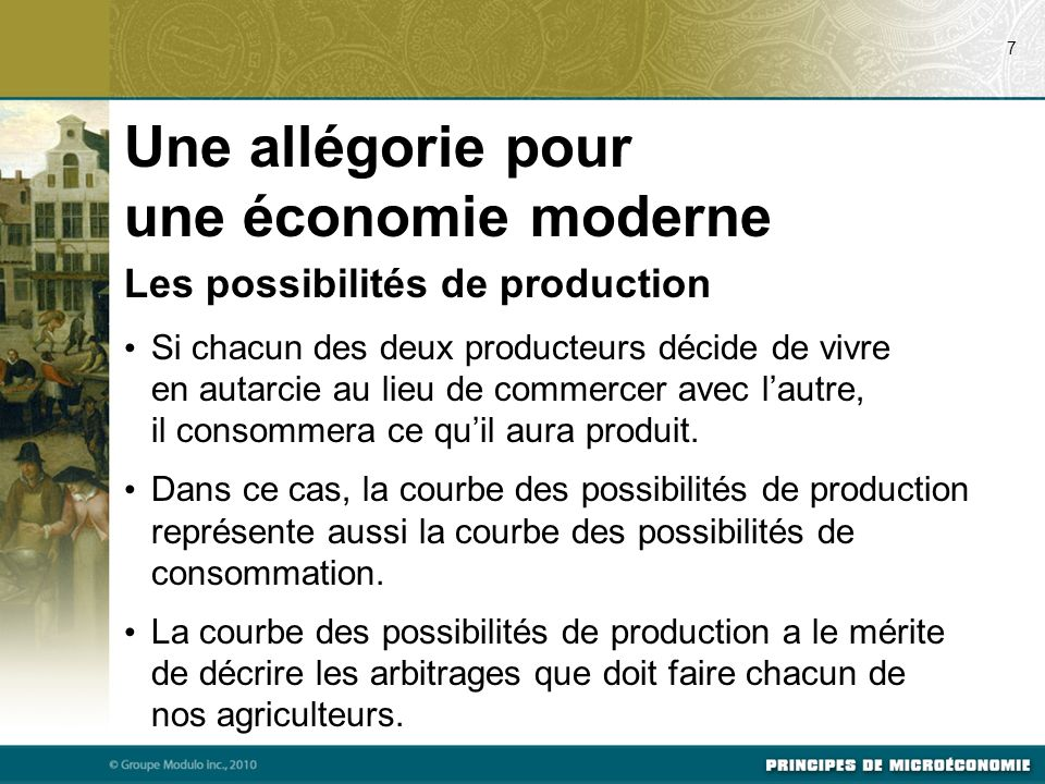 Une allégorie pour une économie moderne Les possibilités de production Si chacun des deux producteurs décide de vivre en autarcie au lieu de commercer avec lautre, il consommera ce quil aura produit.