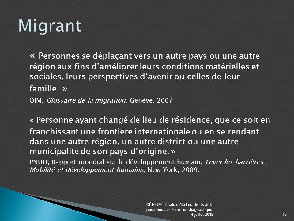 « Personnes se déplaçant vers un autre pays ou une autre région aux fins daméliorer leurs conditions matérielles et sociales, leurs perspectives davenir ou celles de leur famille.