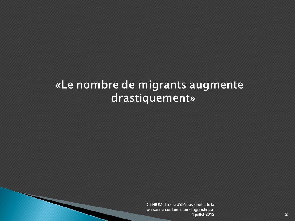 «Le nombre de migrants augmente drastiquement» CÉRIUM, École dété Les droits de la personne sur Terre: un diagnostique, 4 juillet 20122