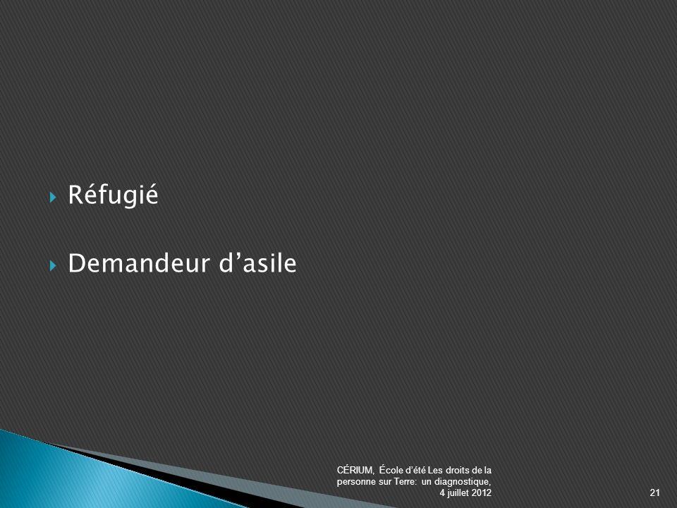Réfugié Demandeur dasile CÉRIUM, École dété Les droits de la personne sur Terre: un diagnostique, 4 juillet 201221