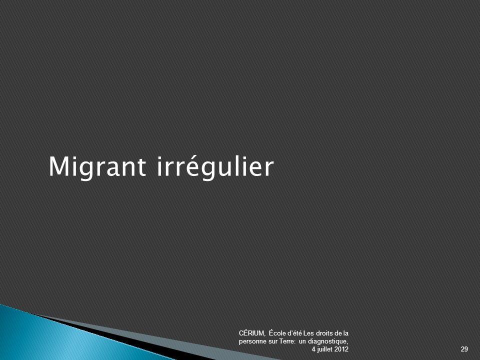 Migrant irrégulier CÉRIUM, École dété Les droits de la personne sur Terre: un diagnostique, 4 juillet 201229