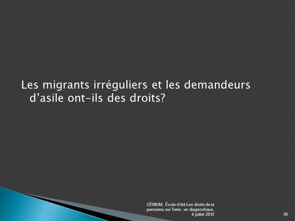 Les migrants irréguliers et les demandeurs dasile ont-ils des droits.