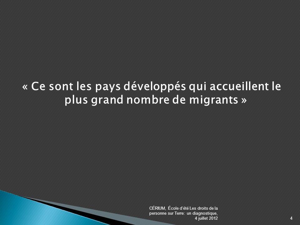 « Ce sont les pays développés qui accueillent le plus grand nombre de migrants » CÉRIUM, École dété Les droits de la personne sur Terre: un diagnostique, 4 juillet 20124