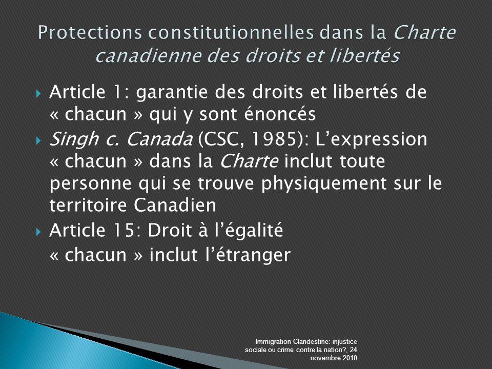 Article 1: garantie des droits et libertés de « chacun » qui y sont énoncés Singh c.