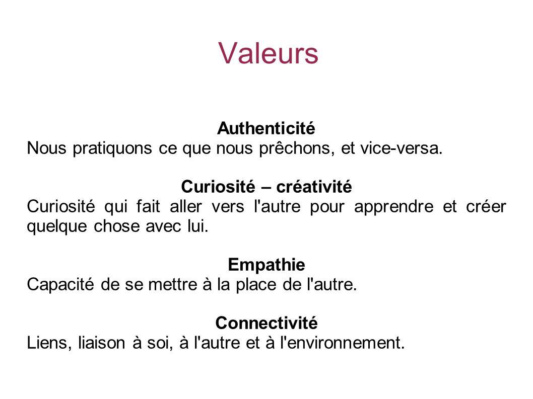 Valeurs Authenticité Nous pratiquons ce que nous prêchons, et vice-versa.
