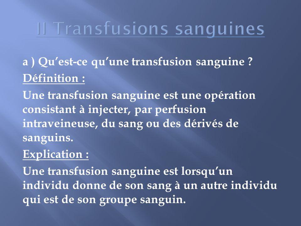 a ) Quest-ce quune transfusion sanguine ? Définition : Une transfusion sanguine est une opération consistant à injecter, par perfusion intraveineuse,