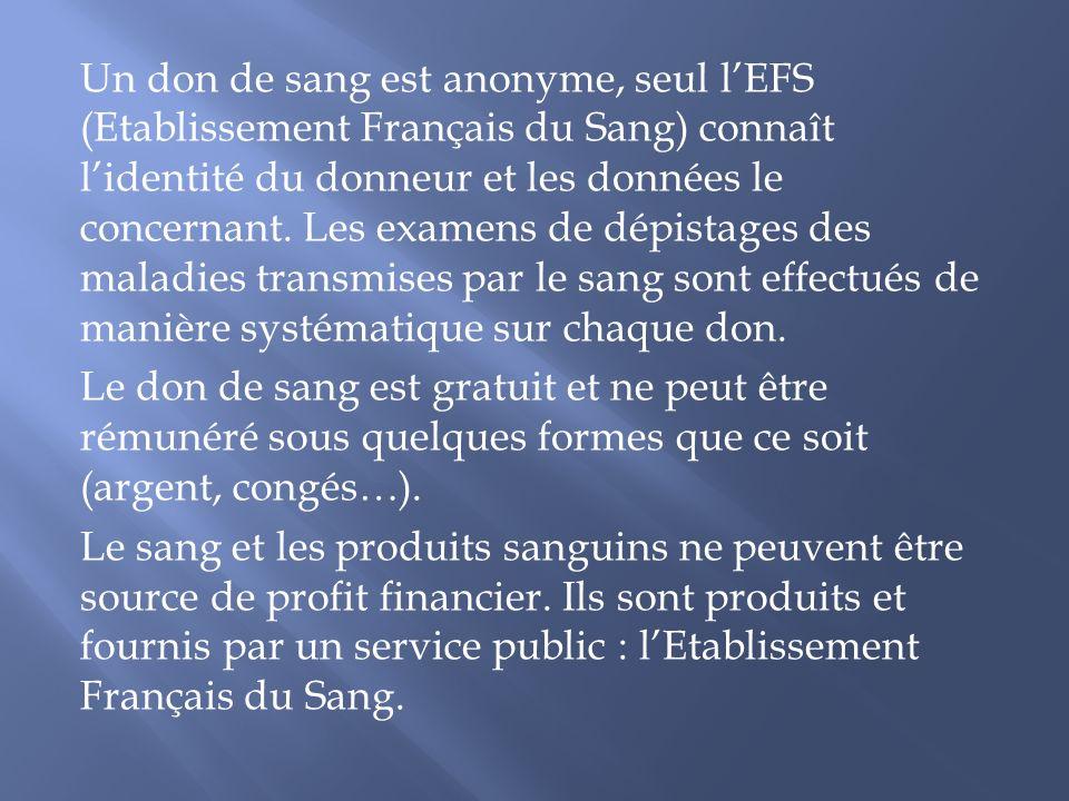 Un don de sang est anonyme, seul lEFS (Etablissement Français du Sang) connaît lidentité du donneur et les données le concernant. Les examens de dépis