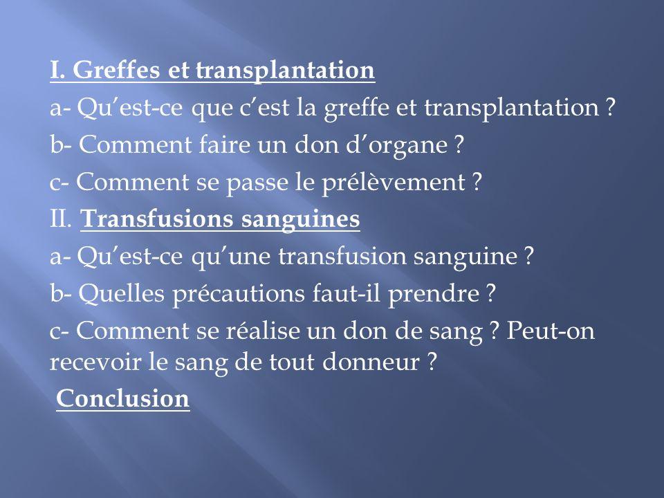 I. Greffes et transplantation a- Quest-ce que cest la greffe et transplantation ? b- Comment faire un don dorgane ? c- Comment se passe le prélèvement