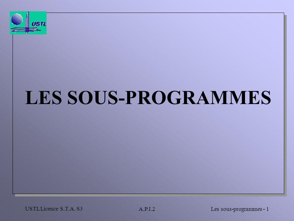 USTL Licence S.T.A. S3 Les sous-programmes - 1A.P.I.2 LES SOUS-PROGRAMMES