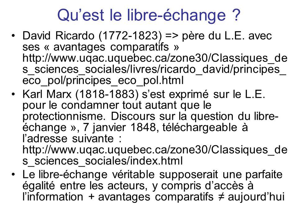 Quest le libre-échange . David Ricardo (1772-1823) => père du L.E.