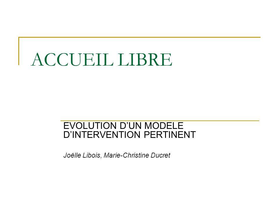 ACCUEIL LIBRE EVOLUTION DUN MODELE DINTERVENTION PERTINENT Joëlle Libois, Marie-Christine Ducret