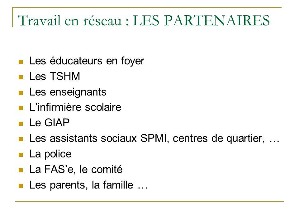 Travail en réseau : LES PARTENAIRES Les éducateurs en foyer Les TSHM Les enseignants Linfirmière scolaire Le GIAP Les assistants sociaux SPMI, centres