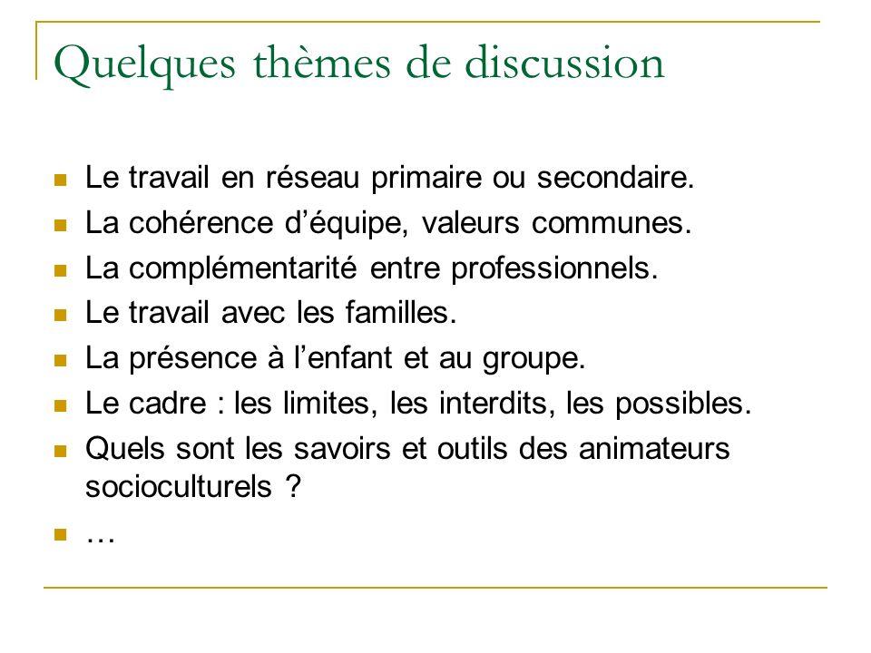 Quelques thèmes de discussion Le travail en réseau primaire ou secondaire. La cohérence déquipe, valeurs communes. La complémentarité entre profession