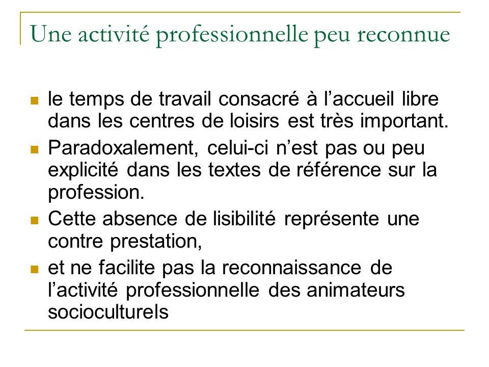. Une activité professionnelle peu reconnue le temps de travail consacré à laccueil libre dans les centres de loisirs est très important. Paradoxaleme