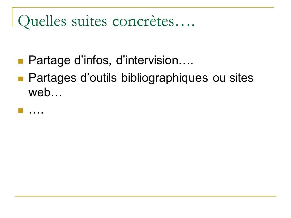 Quelles suites concrètes…. Partage dinfos, dintervision…. Partages doutils bibliographiques ou sites web… ….