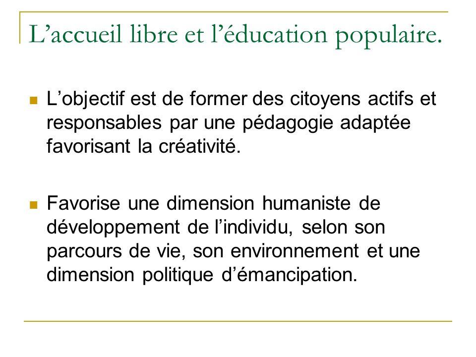 Laccueil libre et léducation populaire. Lobjectif est de former des citoyens actifs et responsables par une pédagogie adaptée favorisant la créativité