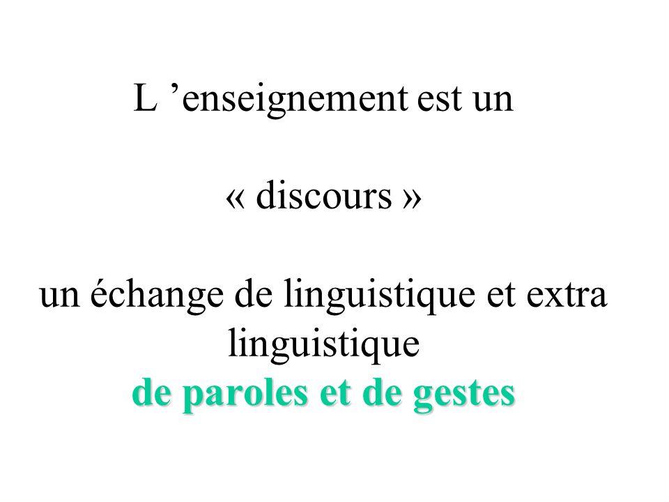 de paroles et de gestes L enseignement est un « discours » un échange de linguistique et extra linguistique de paroles et de gestes