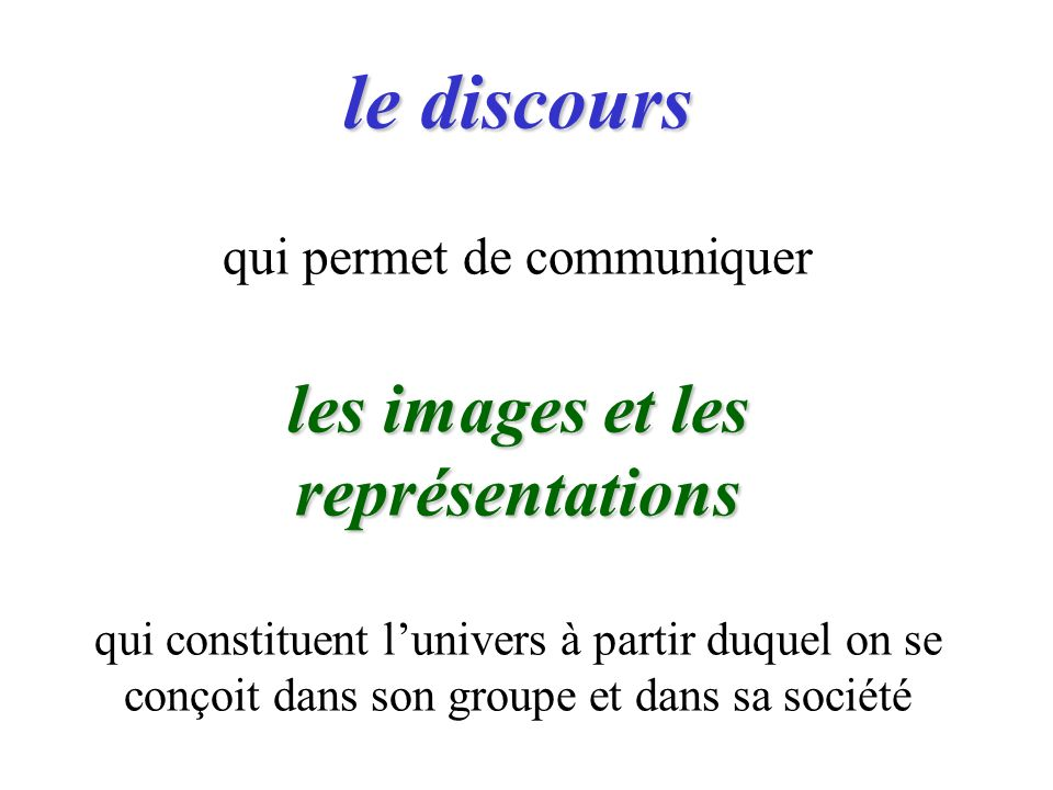 le discours les images et les représentations le discours qui permet de communiquer les images et les représentations qui constituent lunivers à partir duquel on se conçoit dans son groupe et dans sa société