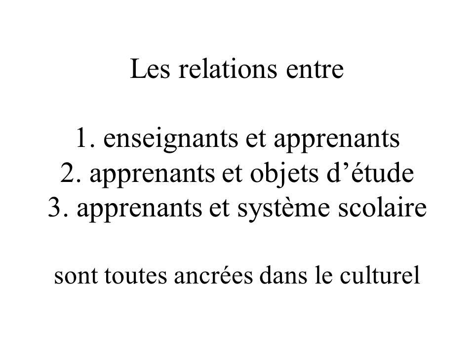 Les relations entre 1. enseignants et apprenants 2.