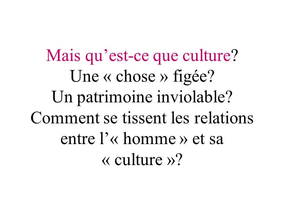Mais quest-ce que culture. Une « chose » figée. Un patrimoine inviolable.