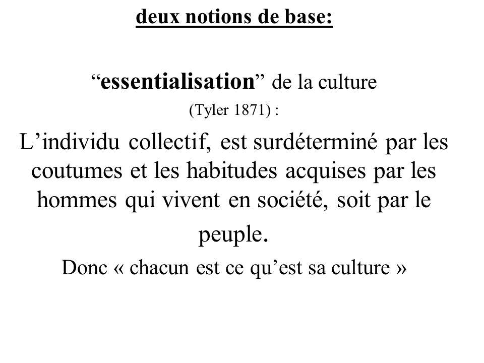 deux notions de base: essentialisation de la culture (Tyler 1871) : Lindividu collectif, est surdéterminé par les coutumes et les habitudes acquises par les hommes qui vivent en société, soit par le peuple.